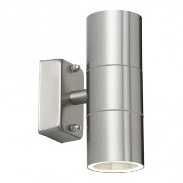 Endon Lighting Canon 2Lt Polished Stainless Steel & Clear Glass Outdoor 35W Non-Automatic Wall Light (EL-40095)
