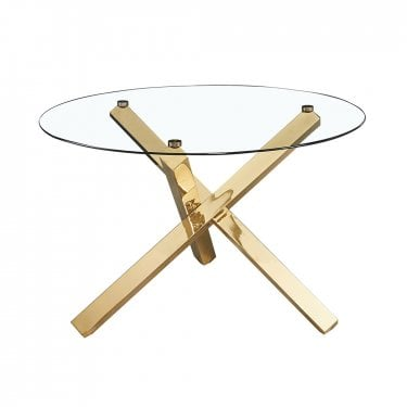 Capri Gold & Clear Glass Dinning Table