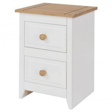 Capri White & Antique Wax Pine 2 Drawer Bedside Cabinet