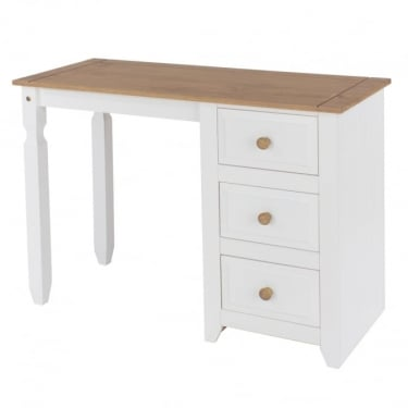 Capri White & Antique Wax Pine 3 Drawer Dressing Table