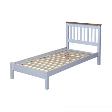 Capri White & Antique Wax Pine 3'0 Bed