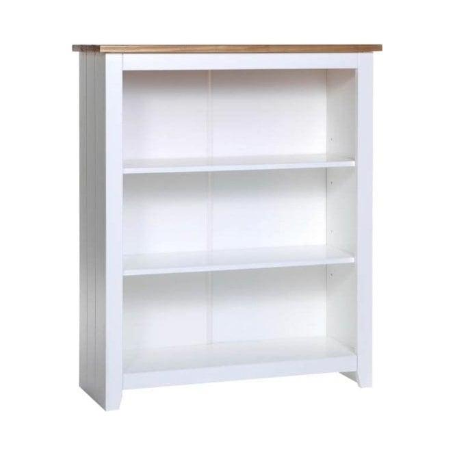 Capri White Antique Wax Pine Low Bookcase With Adjustable Shelves