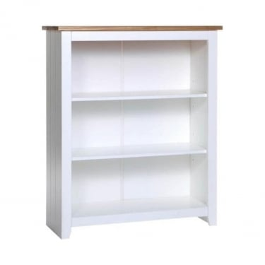 Capri White & Antique Wax Pine Low Bookcase with Adjustable Shelves