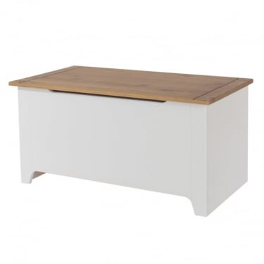 Capri White & Antique Wax Pine Ottoman