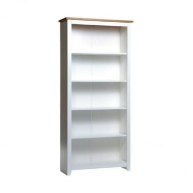 Capri White & Antique Wax Pine Tall Bookcase with Adjustable Shelves