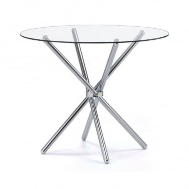 Casa Glass Round Dining Table with Chrome Legs