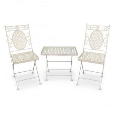 Cassis Matt Cream Metal 3 Piece Folding Patio Coffee Set