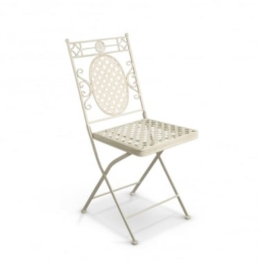 Cassis Matt Cream Metal Folding Patio Bistro Chair (Pair)