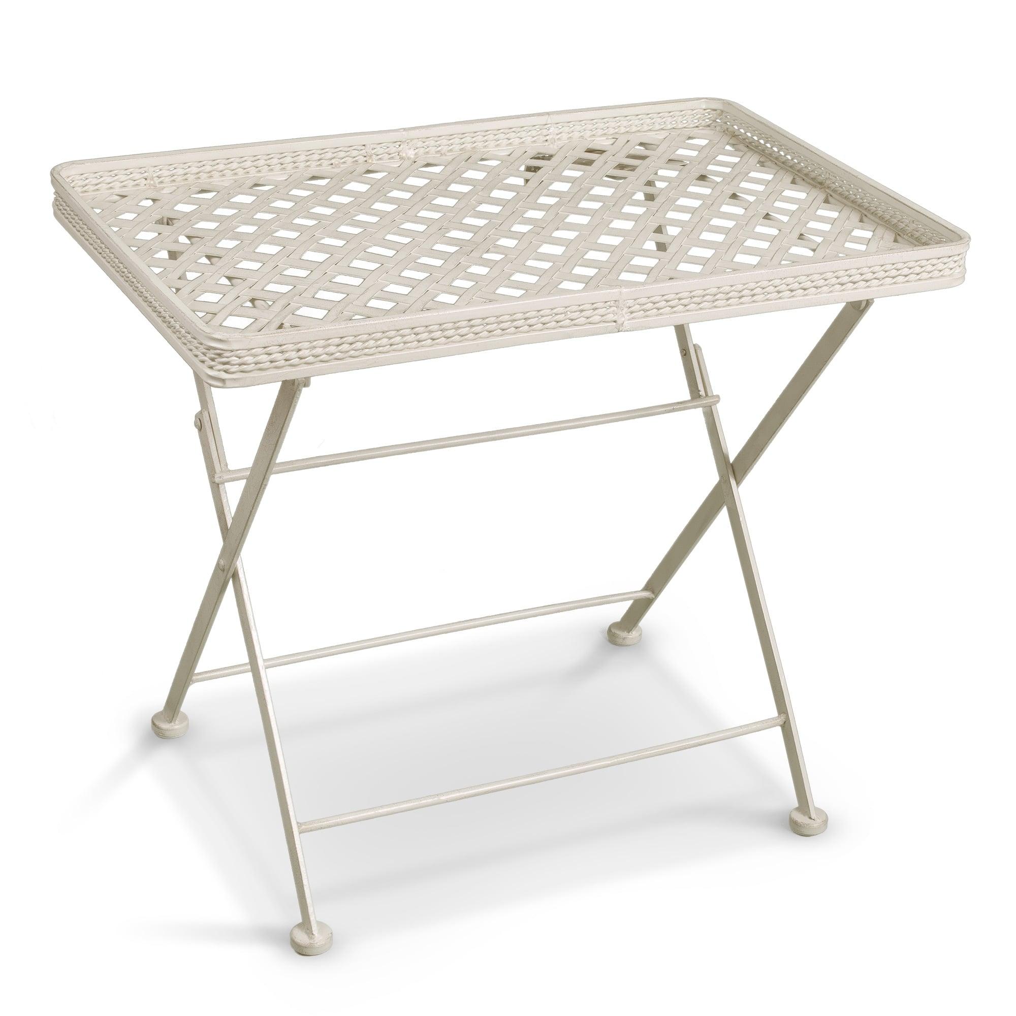- Cassis Matt Cream Metal Folding Patio Butler's Tray Side Table