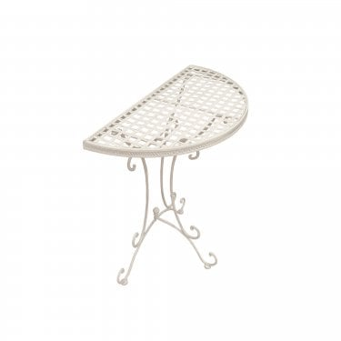 Cassis Matt Cream Metal Half Round Patio Bistro Table