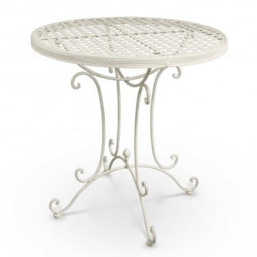 Cassis Matt Cream Metal Round Patio Bistro Table