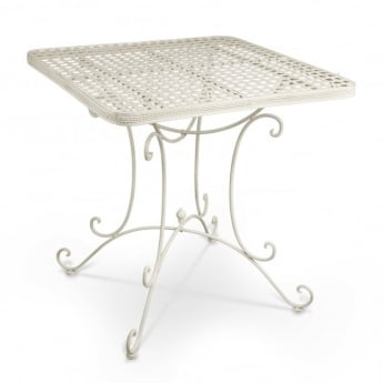 Richmond Garden Cassis Matt Cream Metal Square Patio Bistro Table