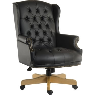 Chairman Black Leather Executive Chair with Light Wood Base