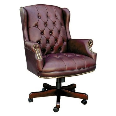Chairman Burgundy Executive Chair with Fruitwood Base