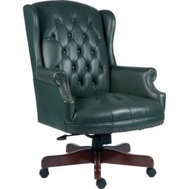 Chairman Green Executive Chair with Fruitwood Base