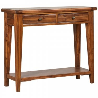 Chaucer Solid Stained Acacia 2 Drawer Console Table