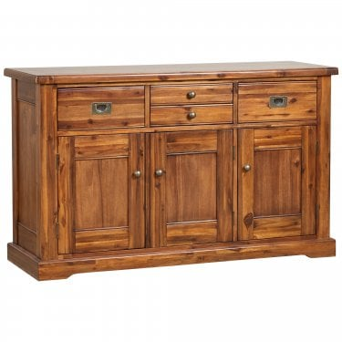 Chaucer Solid Stained Acacia 4 Drawer 3 Door Sideboard