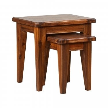 Chaucer Solid Stained Acacia Nest of Two Tables