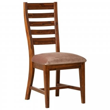 Chaucer Solid Stained Acacia Pair of Dining Chairs with PU Seat Pad