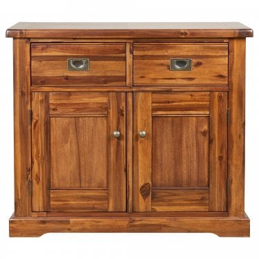 Chaucer Solid Stained Acacia Small 2 Drawer 2 Door Sideboard