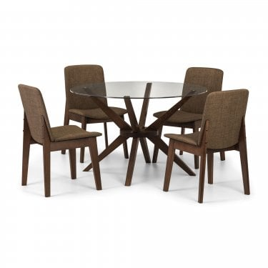 Chelsea Kensington Round Dining Set Of 4, Clear Glass