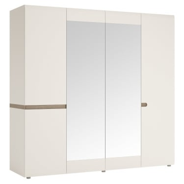 Chelsea White & Oak Trim 4 Door Mirrored Wardrobe