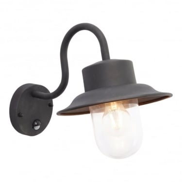 Endon Lighting Chesham 1Lt Textured Black Paint & Clear Glass Outdoor 40W Automatic PIR Wall Light (70331)