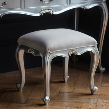 Chic Dressing Table Stool, Silver Leaf