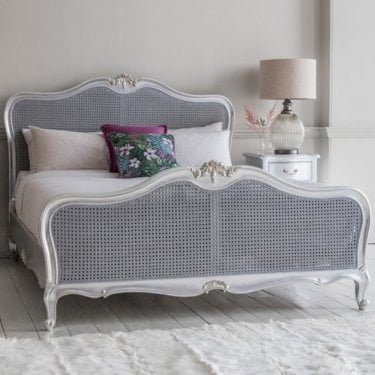 Chic Super Kingsize French Bed, Silver Leaf