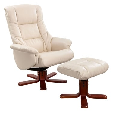 Chicago Cream Recliner Chair with Cherry Base