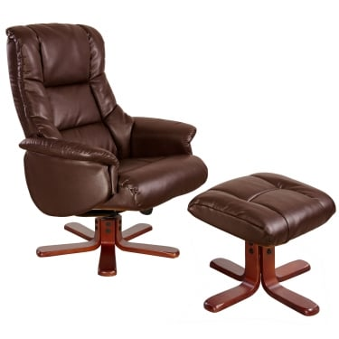 Chicago Nut Brown Recliner Chair with Cherry Base