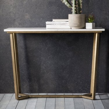 Cleo Console Table, White Marble