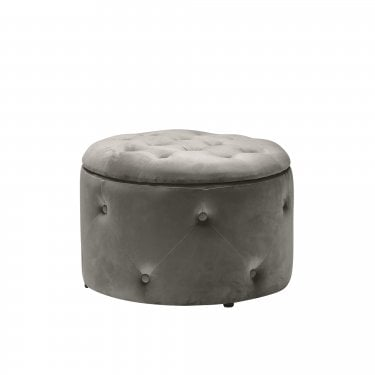 Cleo Round Pouffe, Charcoal