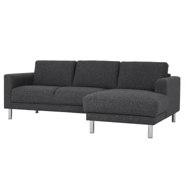 Cleveland Nova Antracit Chaiselongue Sofa with Chrome Legs