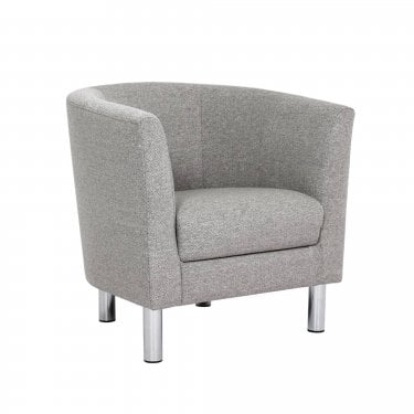 Cleveland Nova Light Grey Armchair with Chrome Legs