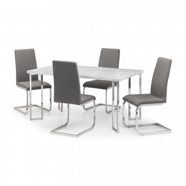 Clyde Arc Dining Set Of 4, White Marble