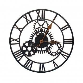 Richmond Garden Cogg Matt Black Metal Cog Outdoor Clock