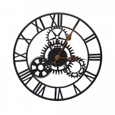 Cogg Matt Black Metal Cog Outdoor Clock