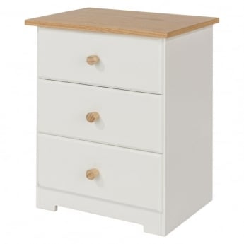 Core Products Colorado Warm White MDF 3 Drawer Bedside Cabinet