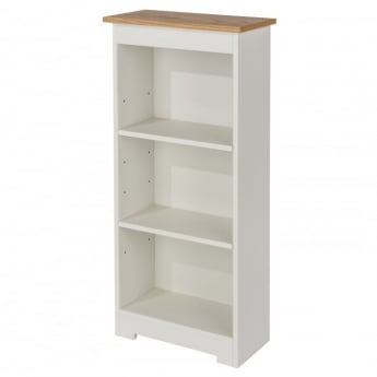 Core Products Colorado Warm White MDF Low Narrow Bookcase with Adjustable Shelves