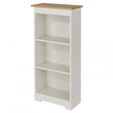 Colorado Warm White MDF Low Narrow Bookcase with Adjustable Shelves