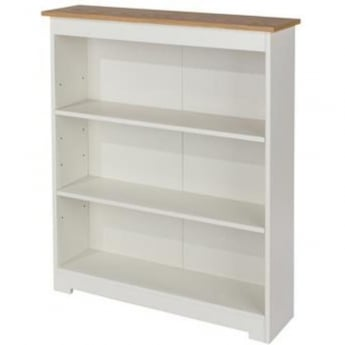 Core Products Colorado Warm White MDF Low Wide Bookcase with Adjustable Shelves