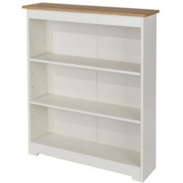 Colorado Warm White MDF Low Wide Bookcase with Adjustable Shelves