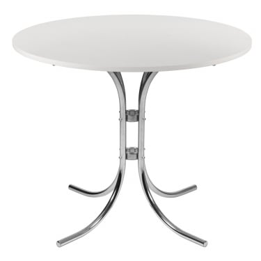 Conference White Bistro Table with Chrome Frame