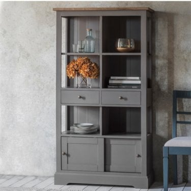 Cookham Large 2 Door 2 Drawer Bookcase, Slate Grey