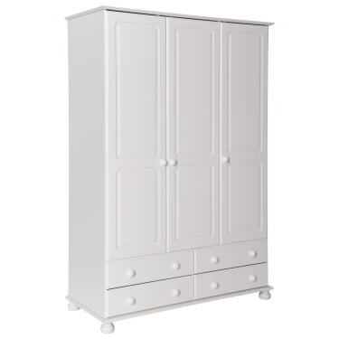 Copenhagen White Painted 4 Drawer 3 Door Wardrobe