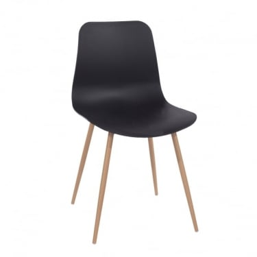 Core Products Aspen Black Plastic Occasional Chair Pair with Wood Effect Metal Legs (ASCH7B)