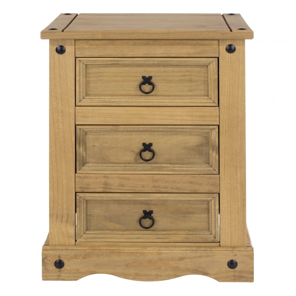 Core Products Corona 3 Drawer Bedside Table At Leader Stores