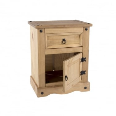 Core Products Corona Antique Wax Pine 1 Drawer 1 Door Bedside Cabinet (CR510)
