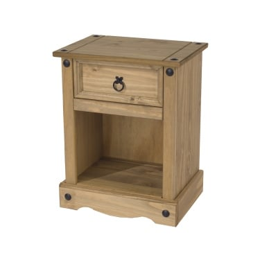 Core Products Corona Antique Wax Pine 1 Drawer Bedside Cabinet (CR508)